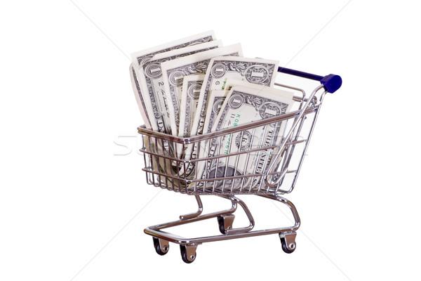 Bevásárlókocsi bankjegyek pénz háttér fém vásárlás Stock fotó © pterwort