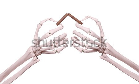 skeleton hands with handcuff holding broken cigar Stock photo © pterwort
