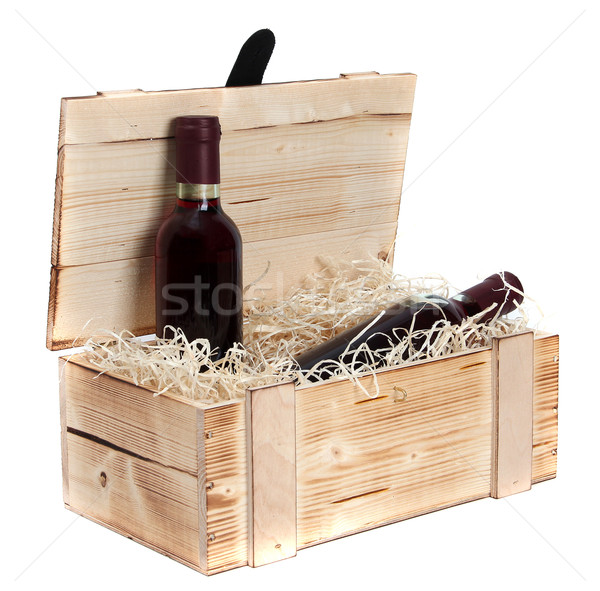 wooden case with two bottles of red wine Stock photo © pterwort