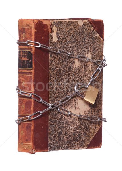 Vieux historique livre protégé cadenas chaîne Photo stock © pterwort