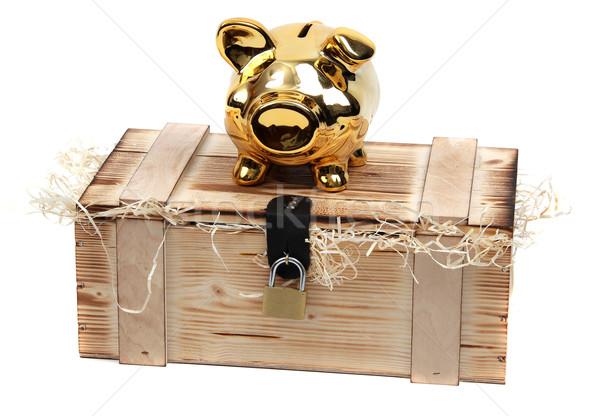 piggybank on wooden boxlocked with padlock Stock photo © pterwort