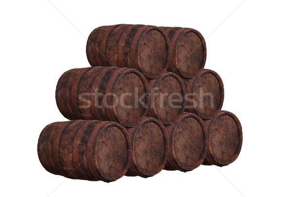 Stockfoto: Houten · vat · wijn · achtergrond · witte