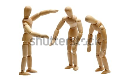 employer and team of wooden dolls Stock photo © pterwort