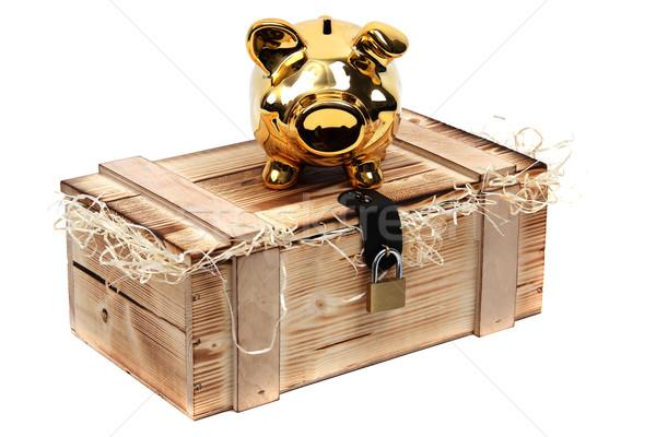Arany persely fából készült tok zárolt lakat Stock fotó © pterwort