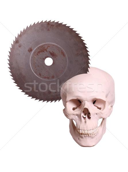 Schedel oude zag ogen metaal dood Stockfoto © pterwort