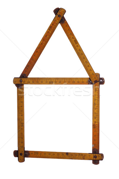 symbol of house made of old yardstick Stock photo © pterwort