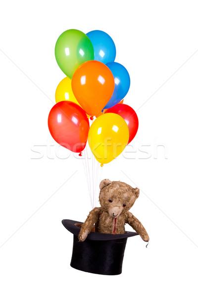 Ursinho de pelúcia velho seis balões festa verde Foto stock © pterwort