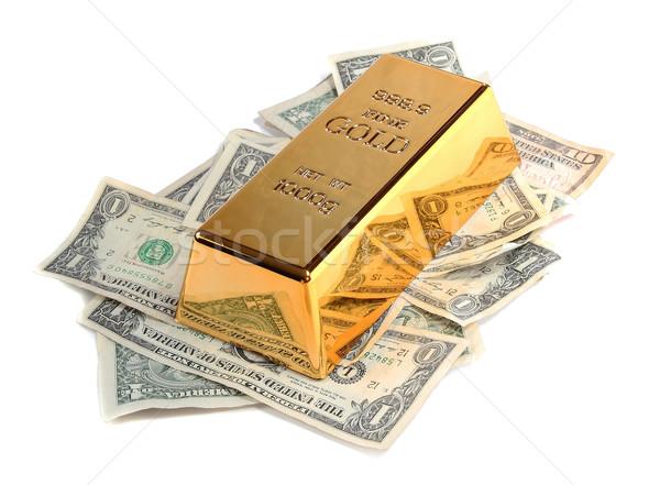 Aranyrúd bank jegyzetek fehér pénz pénzügy Stock fotó © pterwort