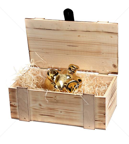 Stock photo: golden piggybank in wooden case