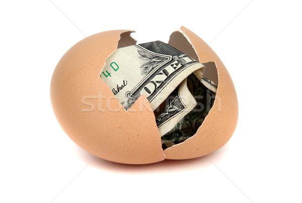 Uno dólar banco nota cáscara de huevo blanco Foto stock © pterwort