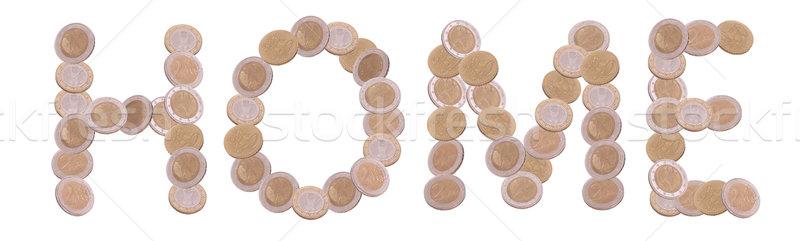 домой написанный монетами белый бизнеса металл Сток-фото © pterwort