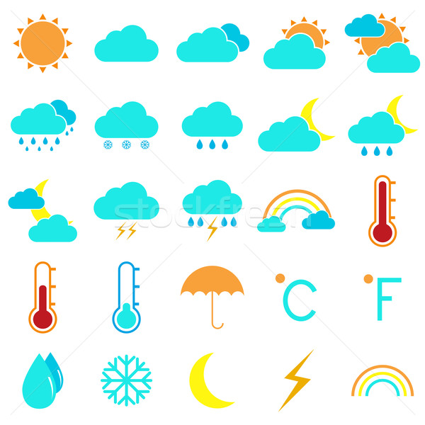 Weather and climate color icons on white background Stock photo © punsayaporn
