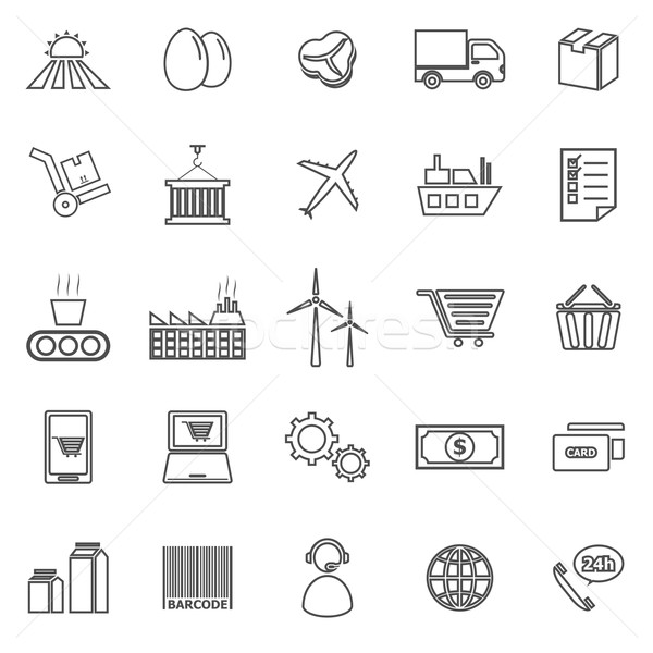 Supply chain line icons on white background Stock photo © punsayaporn