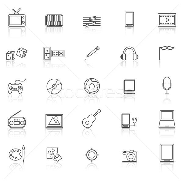 Entertainment line icons with reflect on white Stock photo © punsayaporn