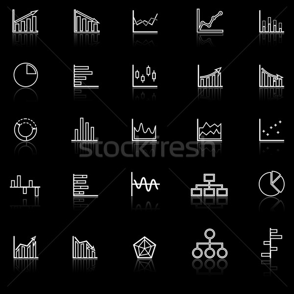 Graph line icons with reflect on black background Stock photo © punsayaporn