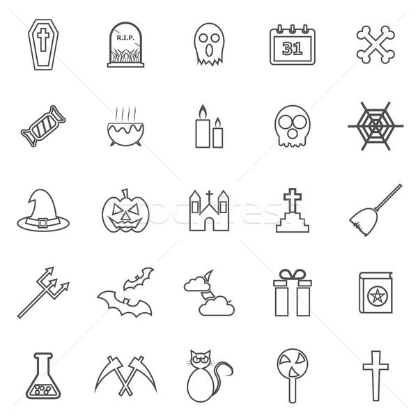 Halloween lijn iconen witte voorraad vector Stockfoto © punsayaporn