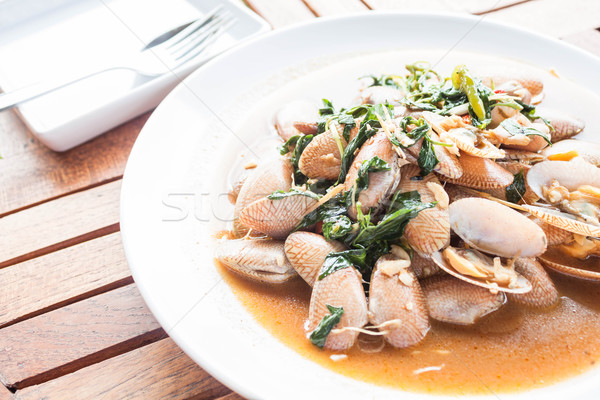 Stir fried clams with roasted chili paste, thai meal Stock photo © punsayaporn