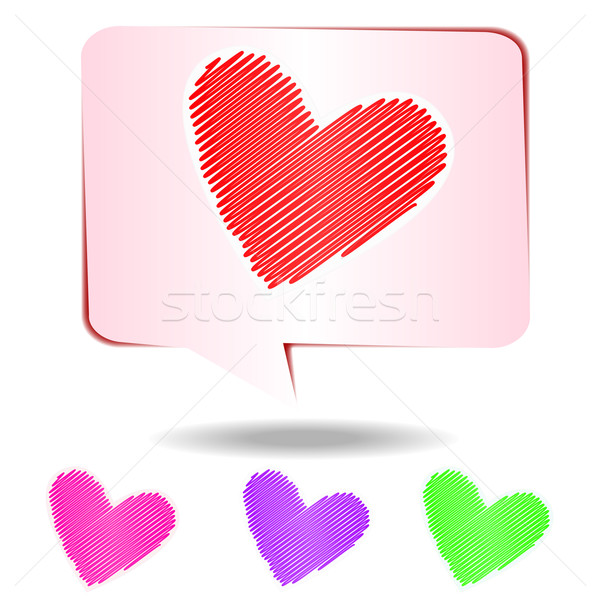 Colorful hearts scribble isolated on white background, vector il Stock photo © punsayaporn