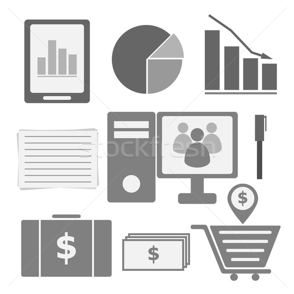 Set of internet investor at home icons Stock photo © punsayaporn