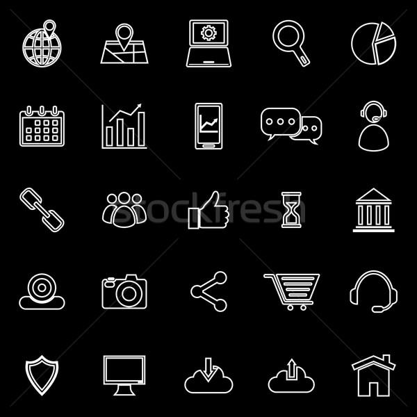 Stock fotó: Seo · vonal · ikonok · fekete · stock · vektor