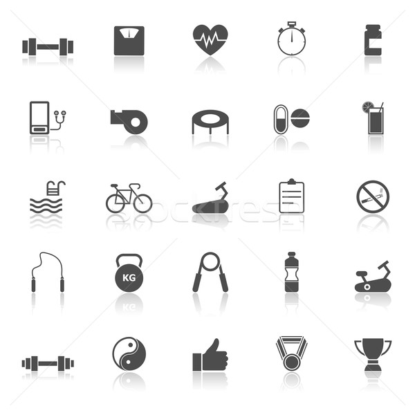 Fitness icons with reflect on white background Stock photo © punsayaporn