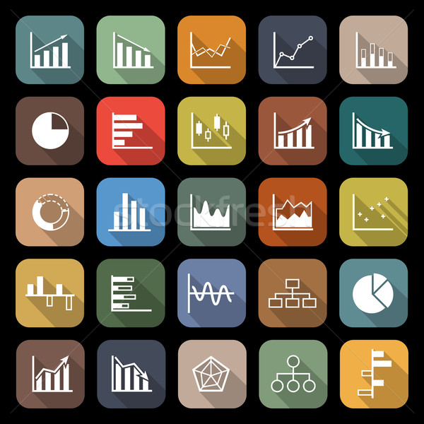 Graph flat icons with long shadow Stock photo © punsayaporn