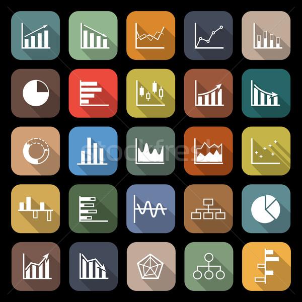 Grafiek iconen lang schaduw voorraad vector Stockfoto © punsayaporn