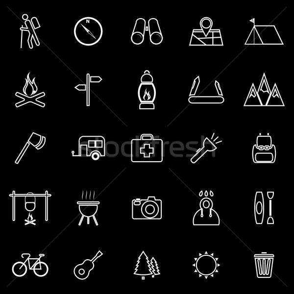 Trekking line icons on black background Stock photo © punsayaporn