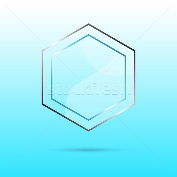 Hatszög absztrakt üveg panel copy space kék Stock fotó © punsayaporn