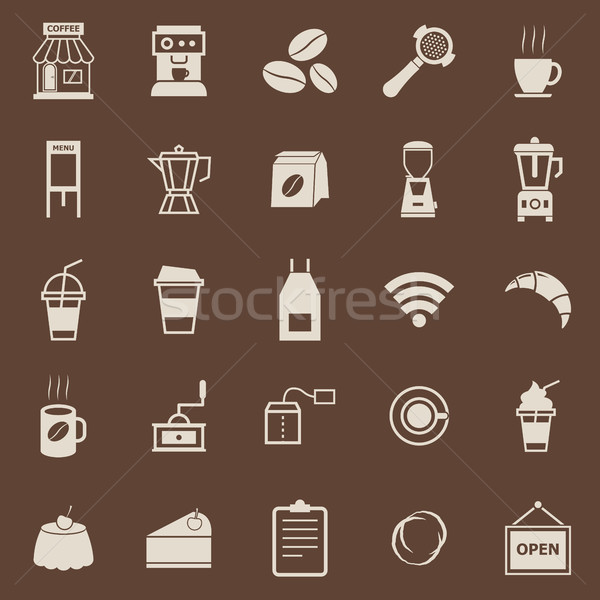Coffee shop color icons on brown background Stock photo © punsayaporn