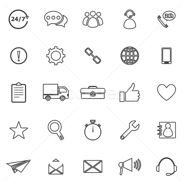 Customer service line icons on white background Stock photo © punsayaporn