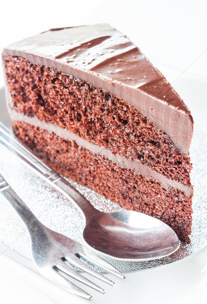 Close up piece of chocolate cake with spoon and fork Stock photo © punsayaporn