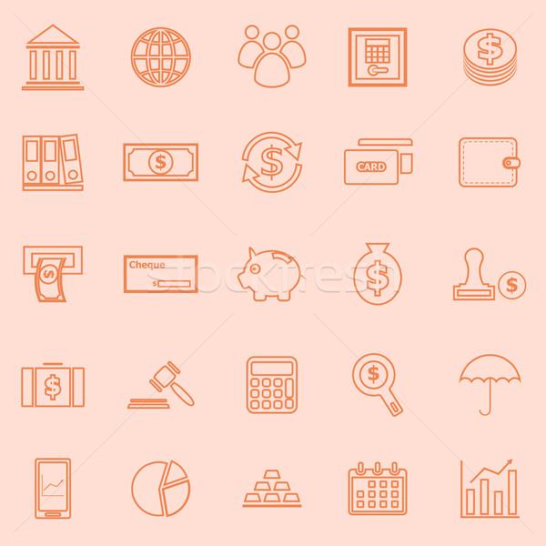 Bancaire lijn iconen oranje voorraad vector Stockfoto © punsayaporn
