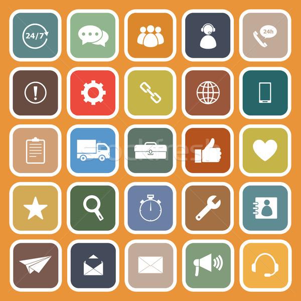 Customer service flat icons on orange background Stock photo © punsayaporn