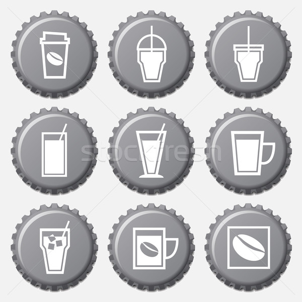 Coffee cup icons on bottle cap set Stock photo © punsayaporn