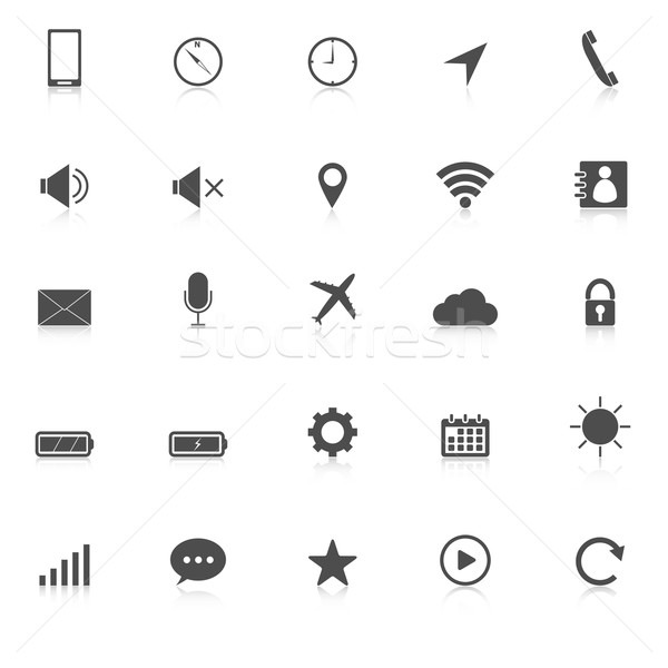 Mobile phone icons with reflect on white background Stock photo © punsayaporn