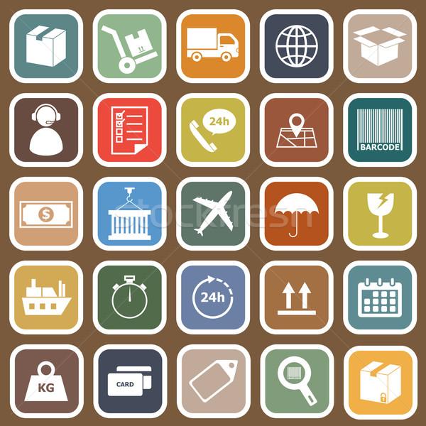 Logistiek iconen bruin voorraad vector business Stockfoto © punsayaporn