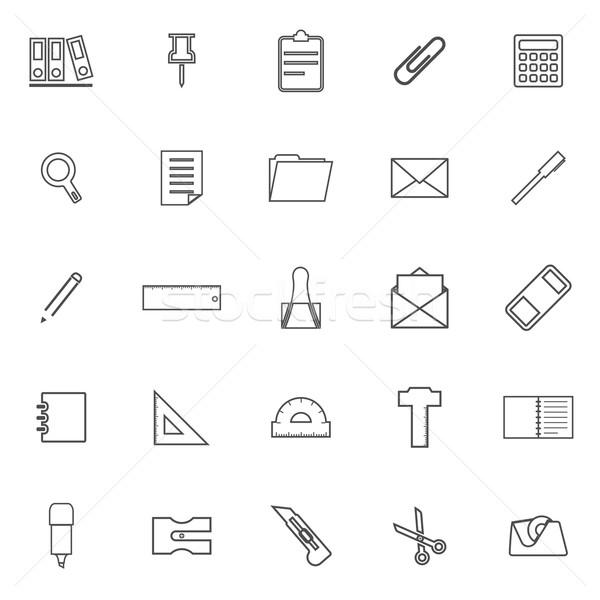 Artigos de papelaria linha ícones branco estoque vetor Foto stock © punsayaporn