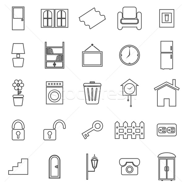 House related line icons on white background Stock photo © punsayaporn