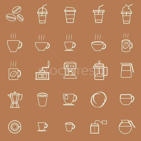 Coffee line icons on brown background Stock photo © punsayaporn