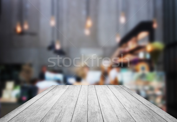 Black and white wooden with blurred background in coffee shop Stock photo © punsayaporn