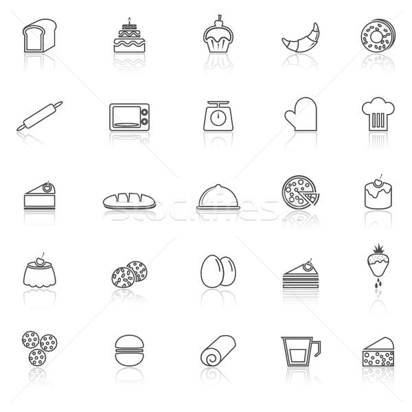 Foto stock: Padaria · linha · ícones · branco · estoque · vetor