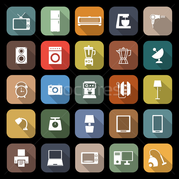 Household flat icons with long shadow Stock photo © punsayaporn