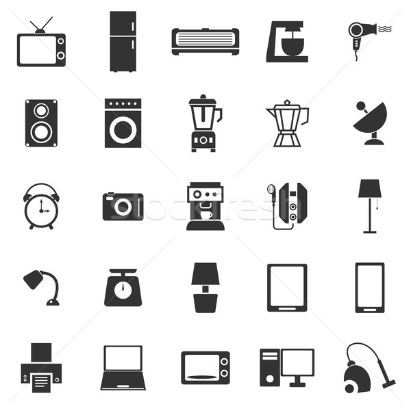Household icons on white background Stock photo © punsayaporn