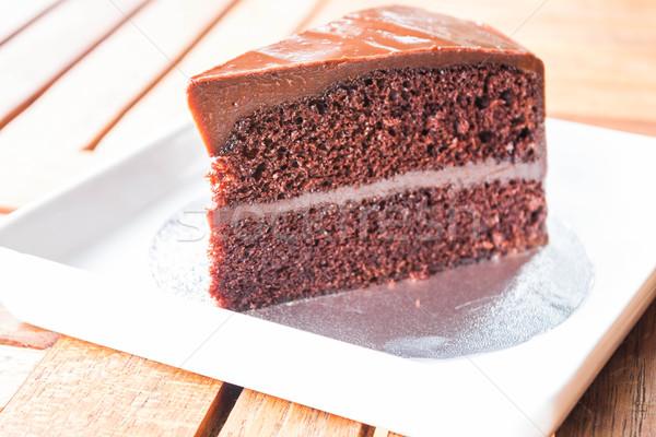Part of chocolate chiffon cake on white dish Stock photo © punsayaporn