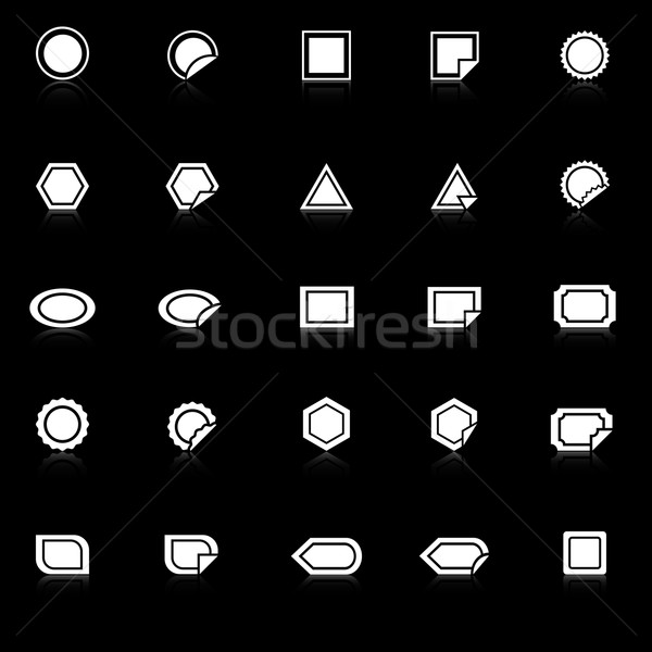 Label icons with reflect on black background Stock photo © punsayaporn