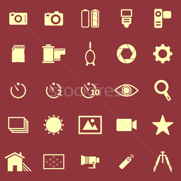Camera color icons on red background Stock photo © punsayaporn