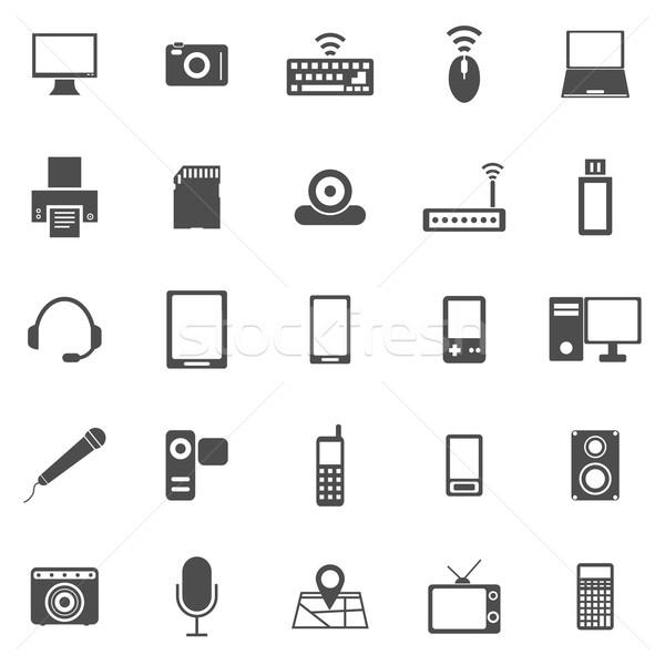 Gadget iconen witte voorraad vector muziek Stockfoto © punsayaporn