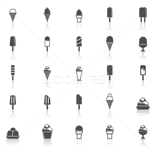 Ice cream icons with reflect on white background Stock photo © punsayaporn