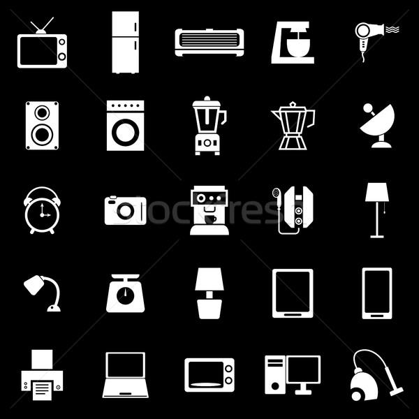 Household icons on black background Stock photo © punsayaporn